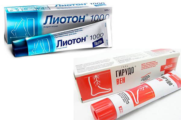 гель Лиотон и крем Гирудовен